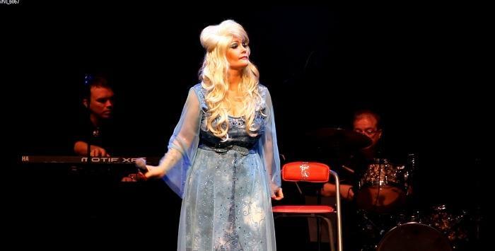 2. Andrea has many custom made replica dresses