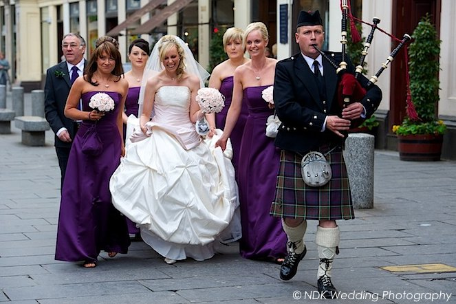 1. Piping a bride through Royal Exchange Square