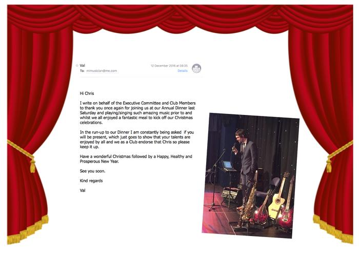 6. Testimonials Page 5 - Chris Hastings. Saxophonist, South Wales