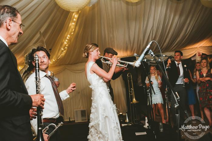 7. That time the bride played trumpet with us