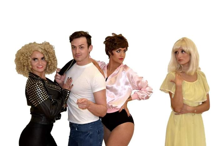 3. duo pic- all characters played through costume changes sandy , danny , rizzo