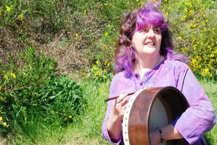 15. Heather with bodhran outside
