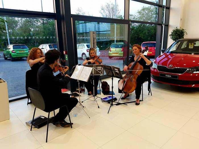 5. The Quartet playing for SKODA showroom launch, Stirling.