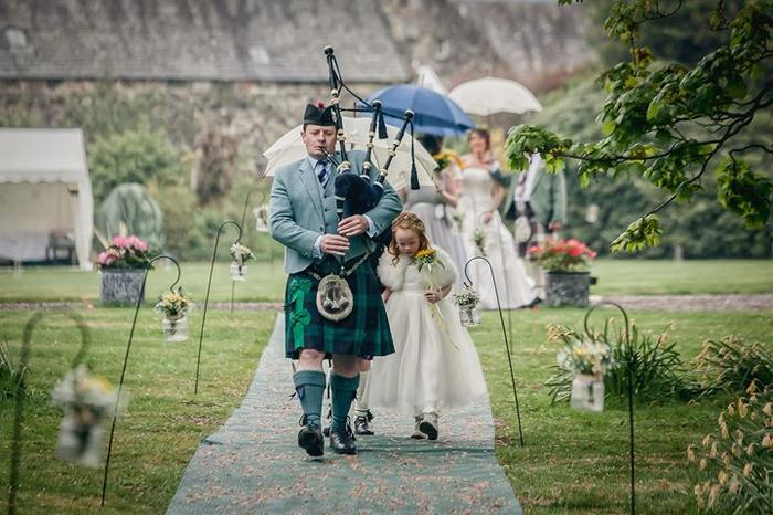 3. Leading the Bridal Party from the Castle to the Outdoor Ceremony